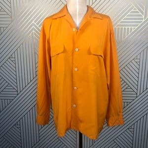 Vintage 90s Equipment Silk Button Down Top Orange